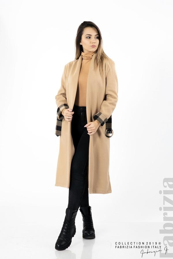 Дамско палто с колан бежов 5 fabrizia
