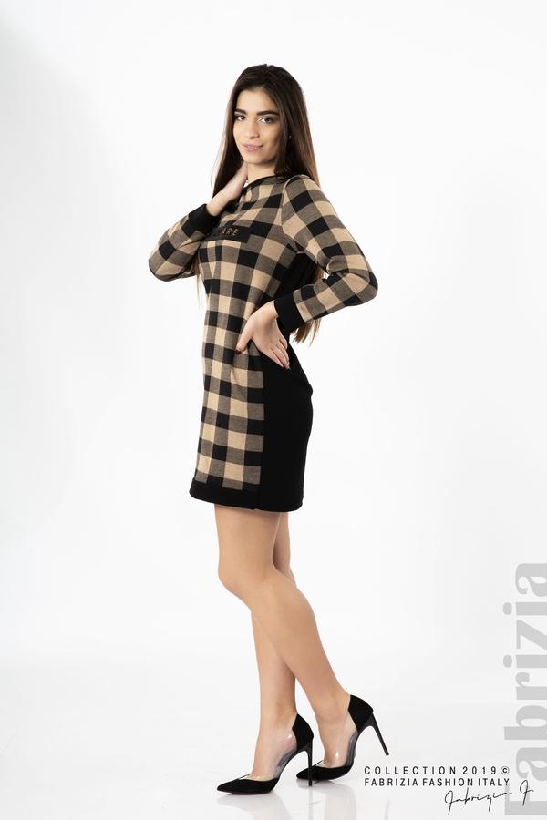 Къса дамска рокля черен/бежов 3 fabrizia