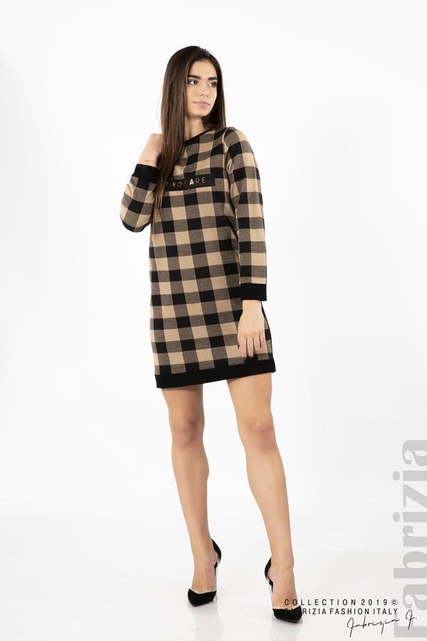 Къса дамска рокля черен/бежов 2 fabrizia