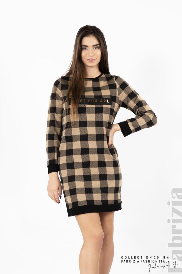 Къса дамска рокля черен/бежов 1 fabrizia