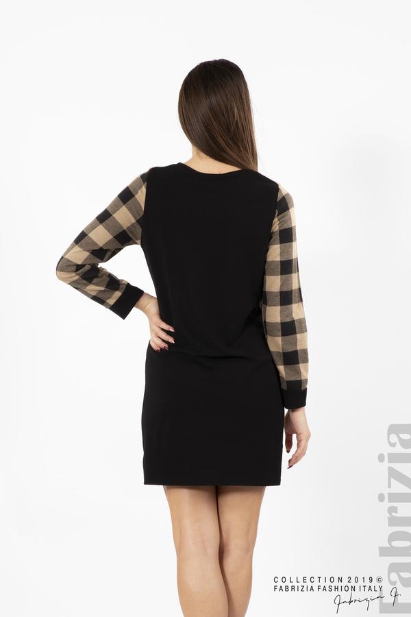 Къса дамска рокля черен/бежов 5 fabrizia