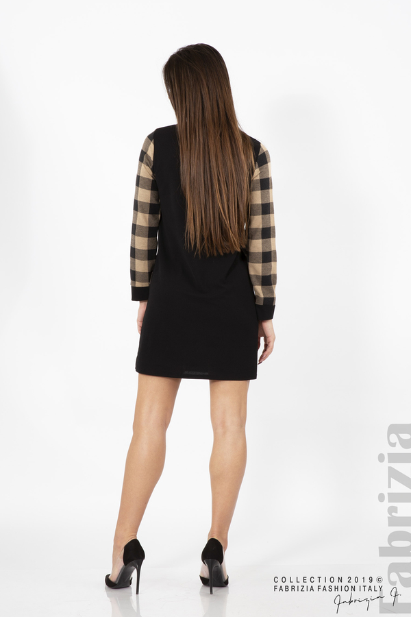 Къса дамска рокля черен/бежов 4 fabrizia
