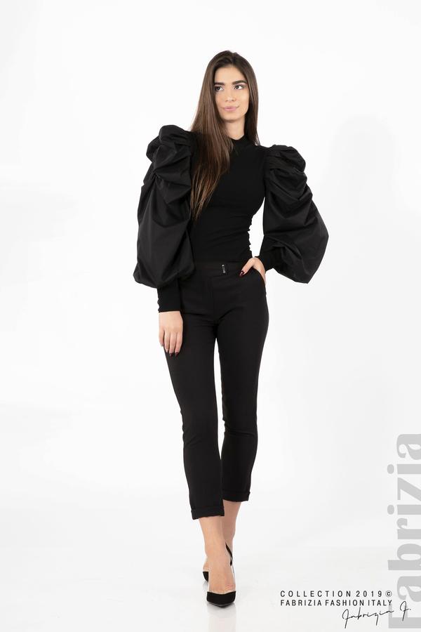 Дамска блуза с буфан ръкави черен 4 fabrizia