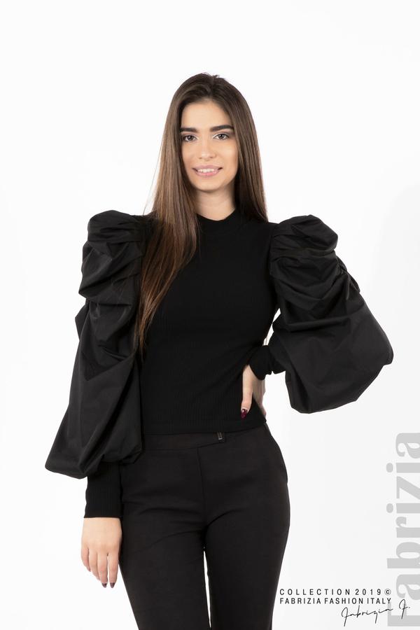 Дамска блуза с буфан ръкави черен 1 fabrizia
