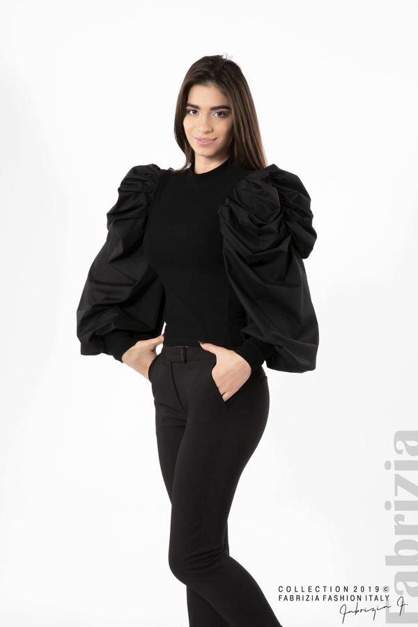 Дамска блуза с буфан ръкави черен 2 fabrizia