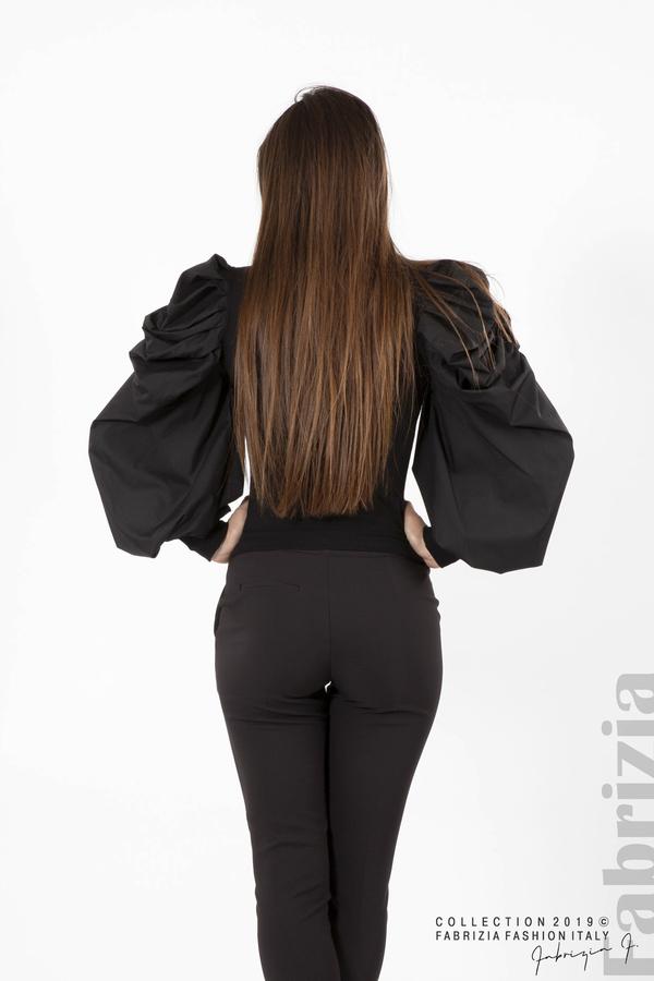 Дамска блуза с буфан ръкави черен 6 fabrizia