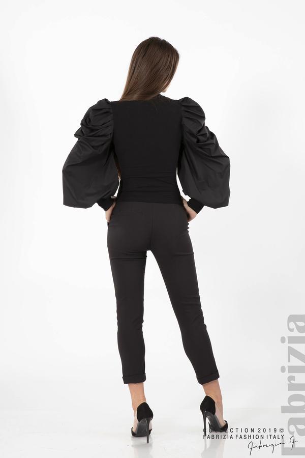 Дамска блуза с буфан ръкави черен 5 fabrizia