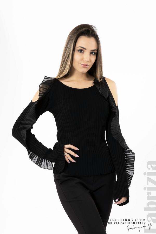 Дамска блуза с голи рамене черен 1 fabrizia