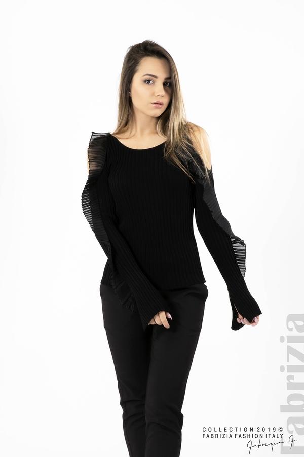 Дамска блуза с голи рамене черен 4 fabrizia