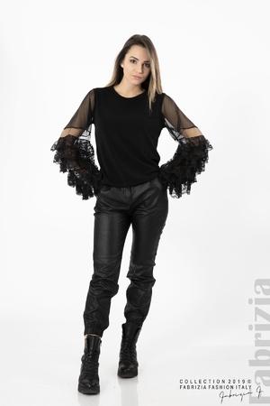 Дамска блуза с ръкави дантела и тюл