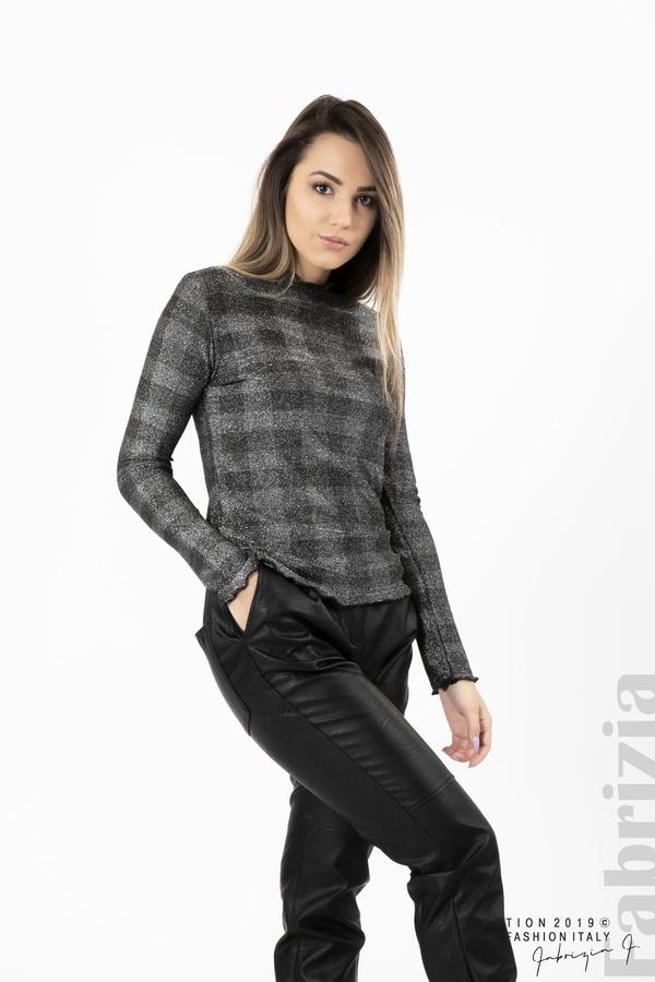 Карирана дамска блуза сребрист 2 fabrizia