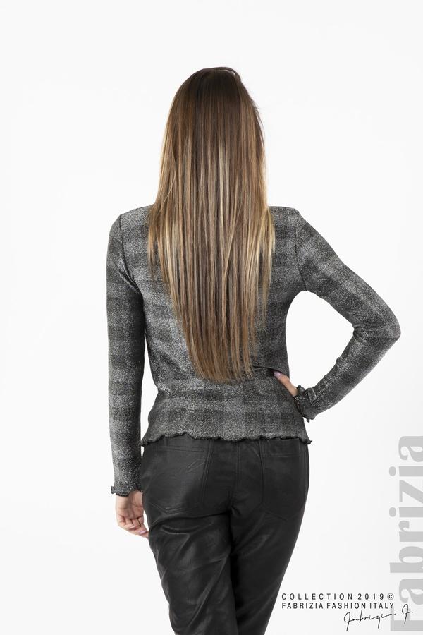 Карирана дамска блуза сребрист 4 fabrizia