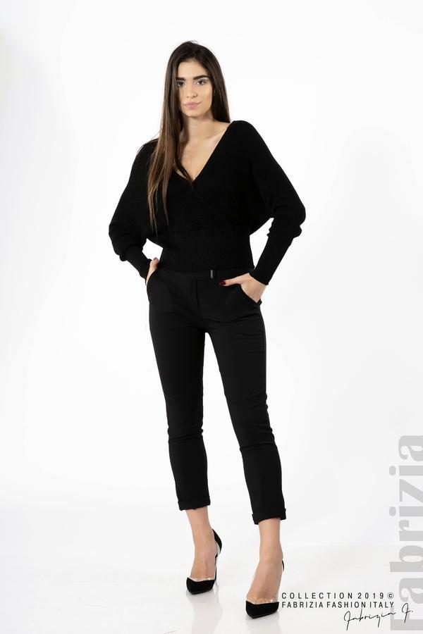 Дамска блуза с изрязан гръб мляко с черен 2 fabrizia
