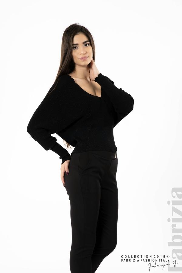 Дамска блуза с изрязан гръб мляко с черен 3 fabrizia