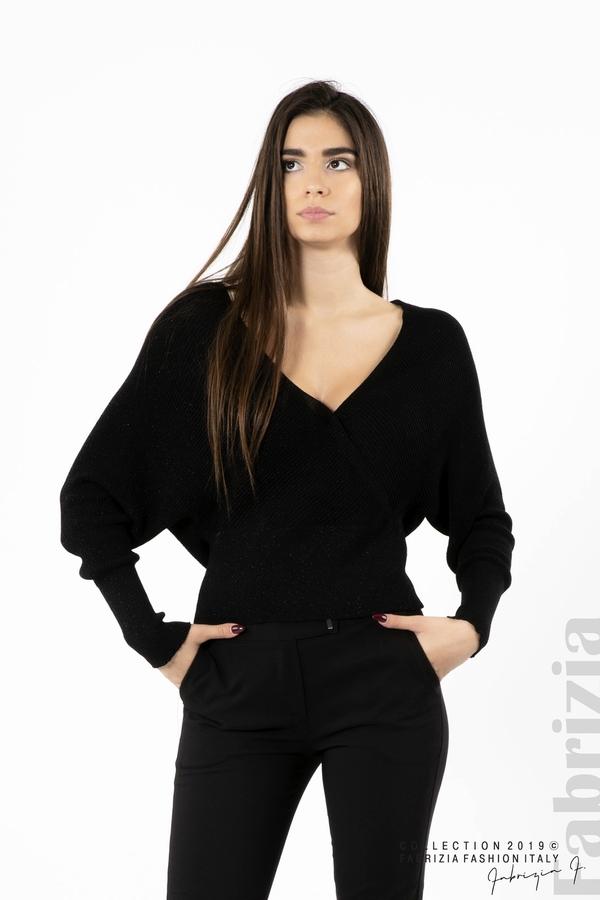 Дамска блуза с изрязан гръб мляко с черен 1 fabrizia