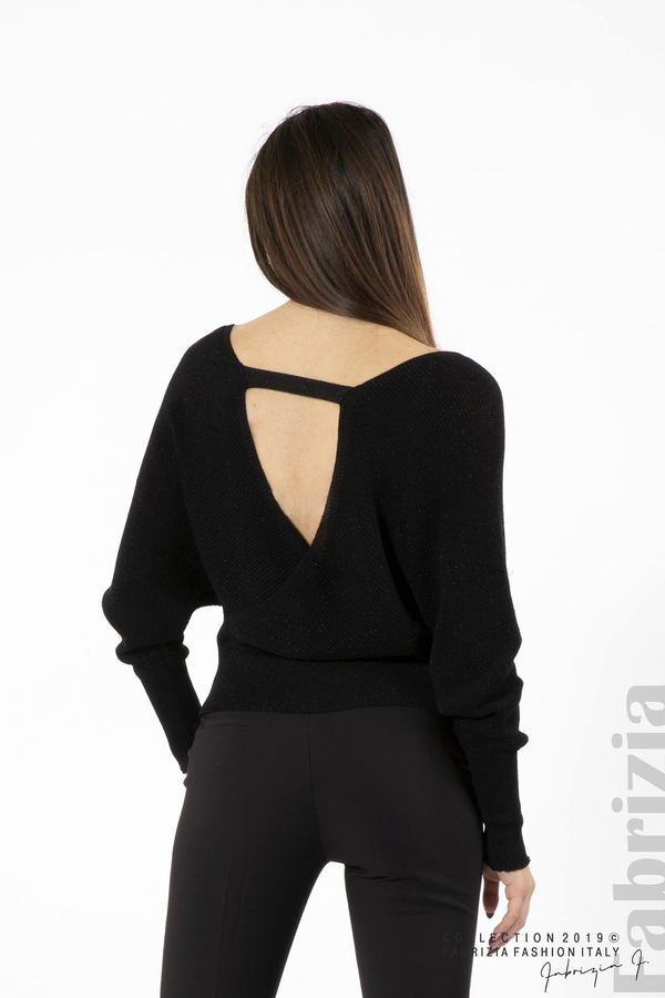 Дамска блуза с изрязан гръб мляко с черен 4 fabrizia