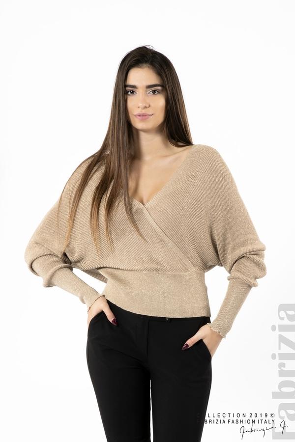 Дамска блуза с изрязан гръб мляко с какао 1 fabrizia