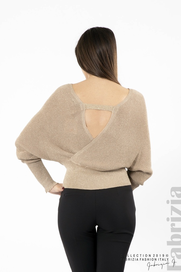 Дамска блуза с изрязан гръб мляко с какао 4 fabrizia
