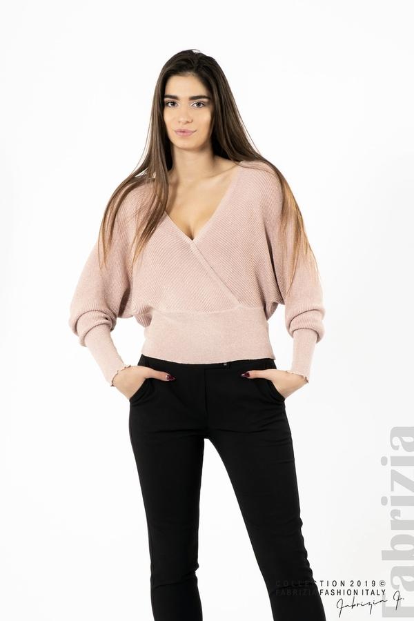 Дамска блуза с изрязан гръб мляко с пудра 3 fabrizia
