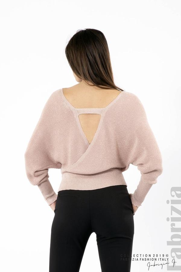 Дамска блуза с изрязан гръб мляко с пудра 4 fabrizia
