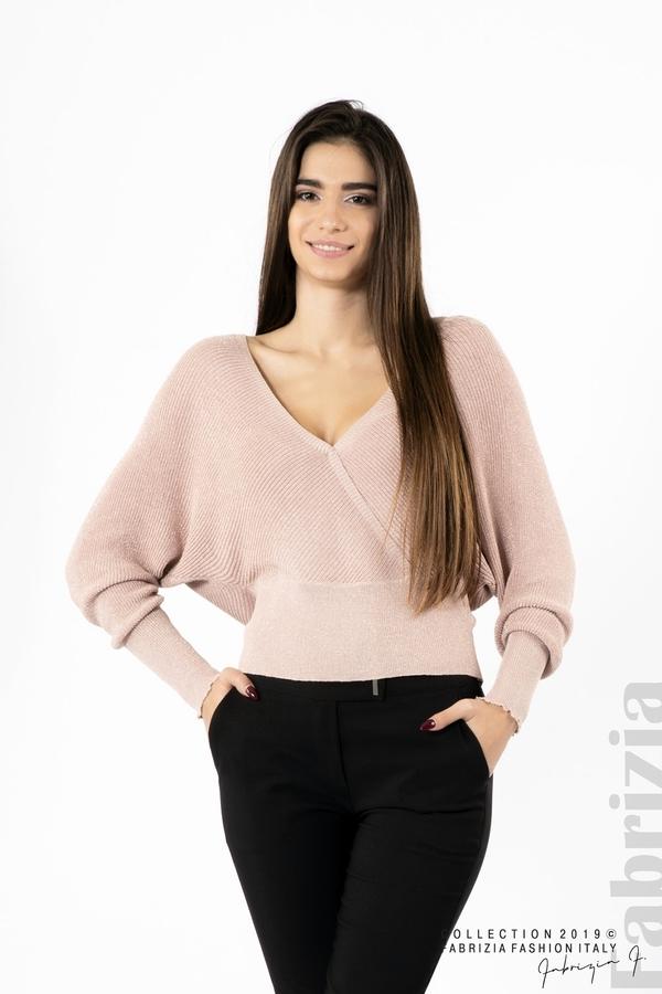 Дамска блуза с изрязан гръб мляко с пудра 1 fabrizia