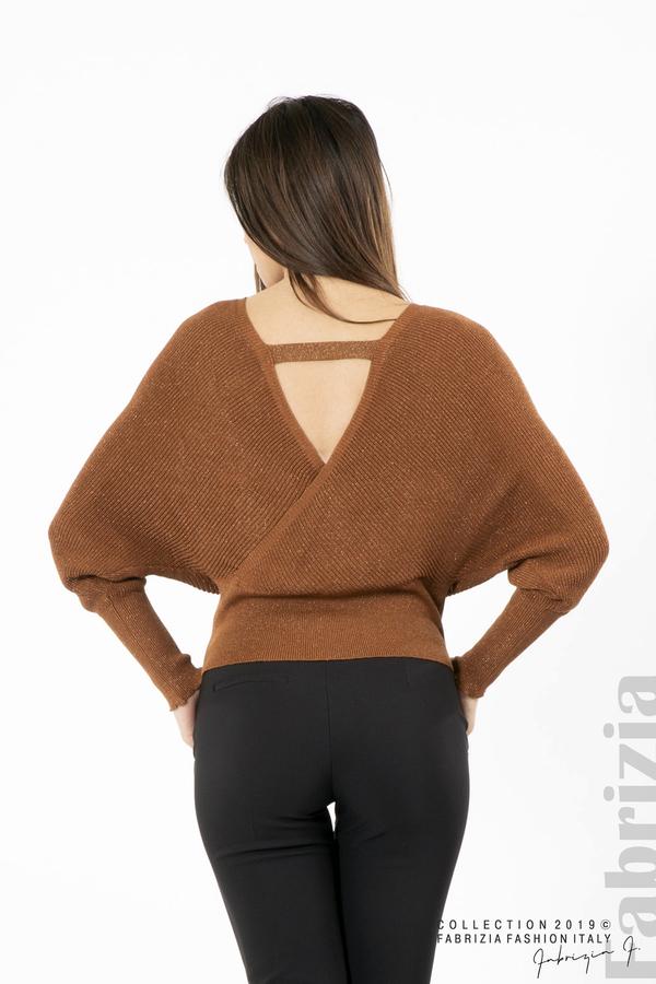 Дамска блуза с изрязан гръб мляко с кафяв 4 fabrizia