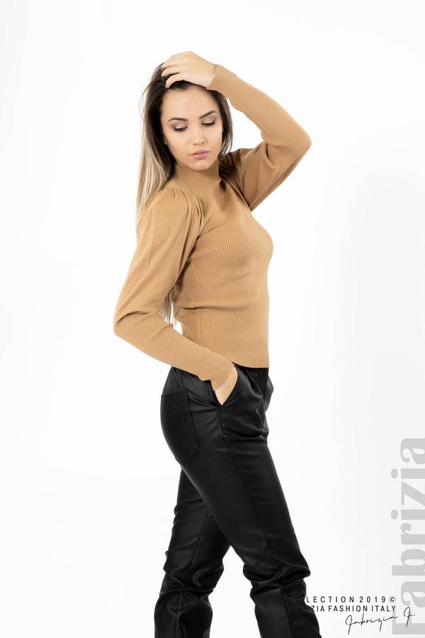 Дамска блуза с буфан ръкав св.кафяв 2 fabrizia