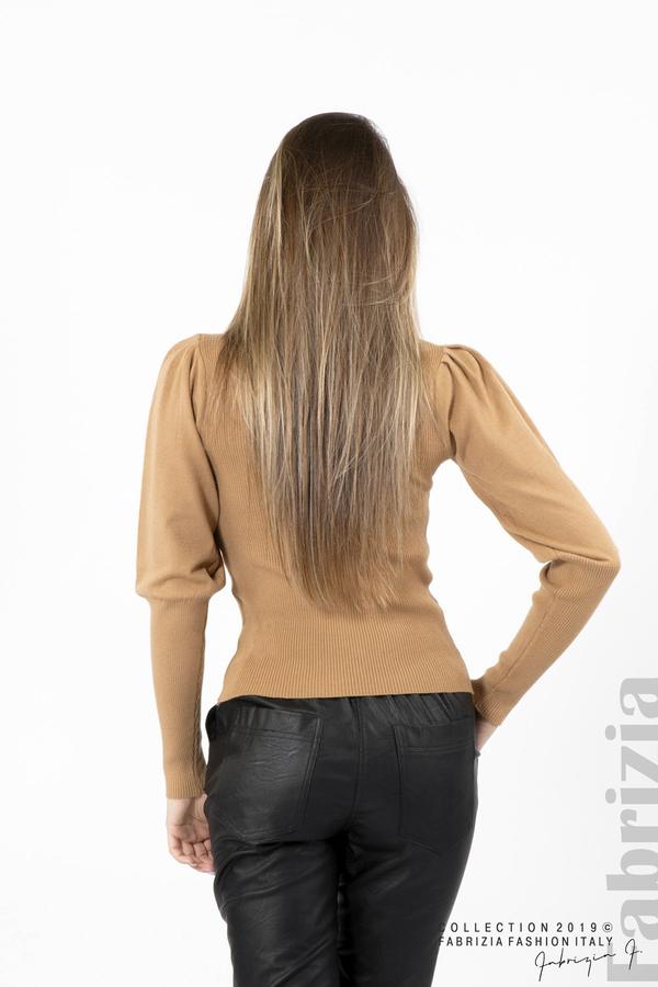 Дамска блуза с буфан ръкав св.кафяв 4 fabrizia