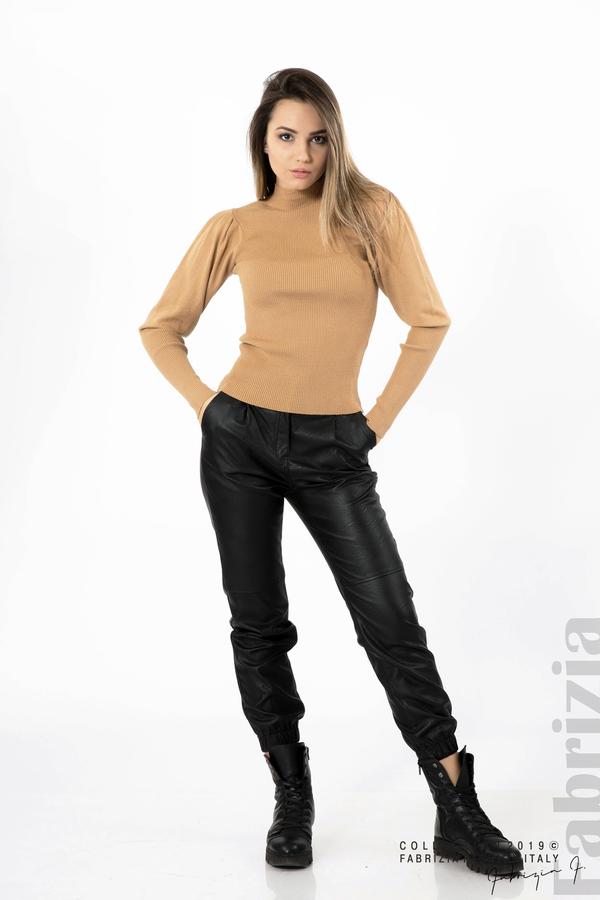 Дамска блуза с буфан ръкав св.кафяв 3 fabrizia