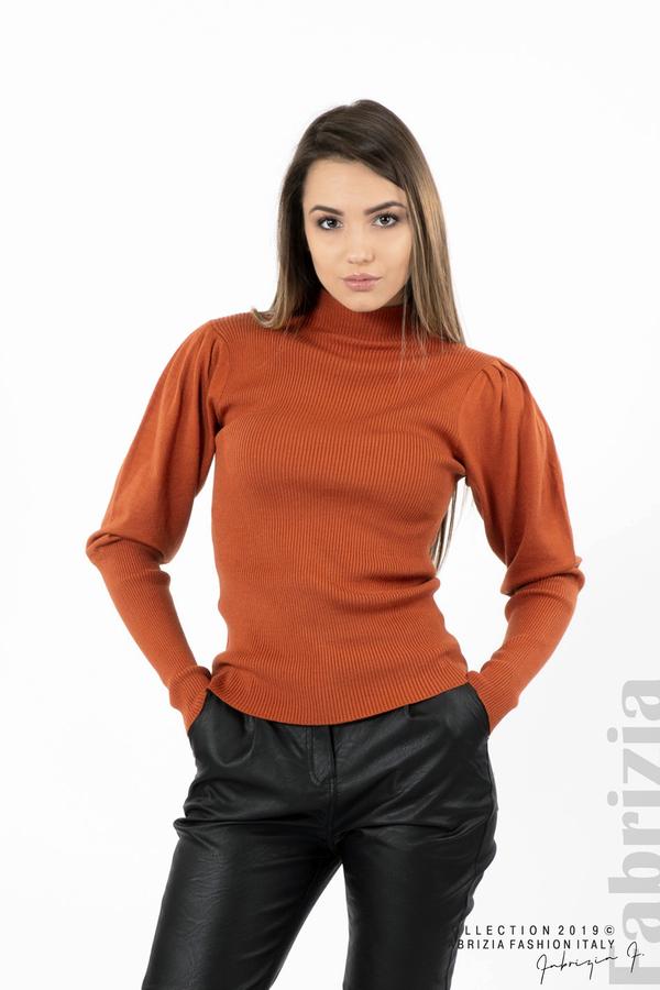 Дамска блуза с буфан ръкав керемида 1 fabrizia