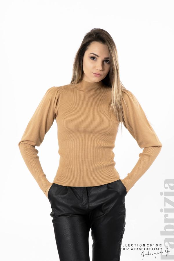Дамска блуза с буфан ръкав св.кафяв 1 fabrizia