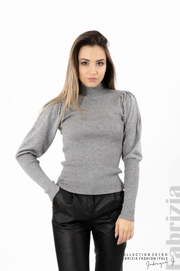 Дамска блуза с буфан ръкав сив 1 fabrizia