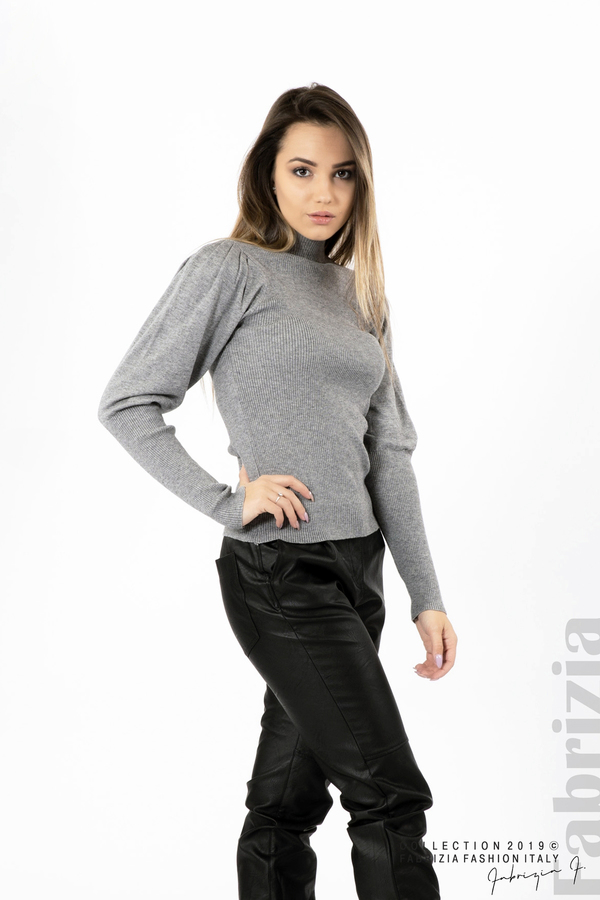 Дамска блуза с буфан ръкав сив 2 fabrizia