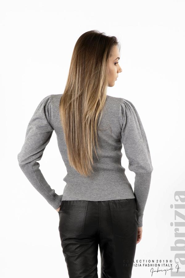 Дамска блуза с буфан ръкав сив 4 fabrizia