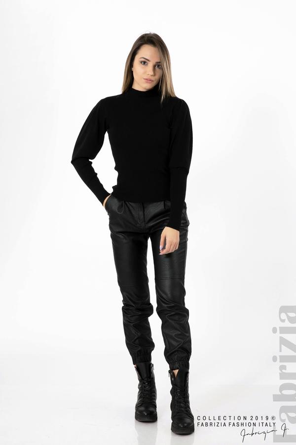 Дамска блуза с буфан ръкав черен 3 fabrizia