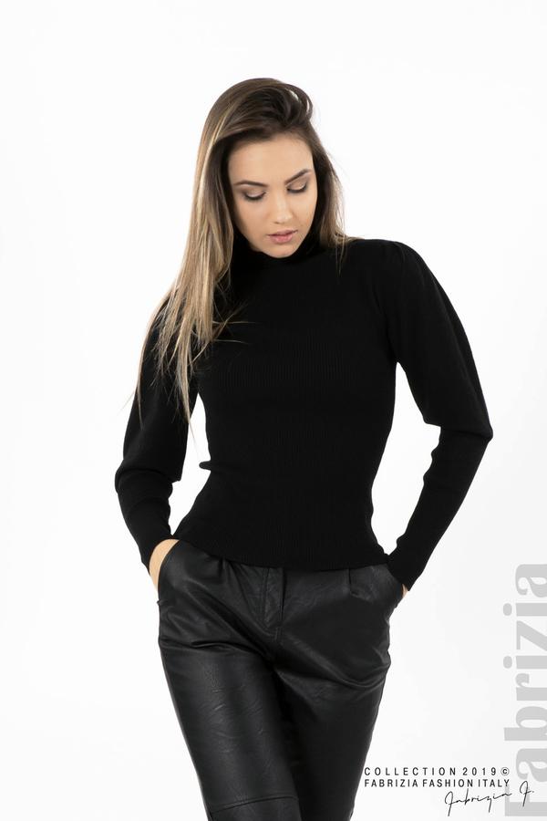 Дамска блуза с буфан ръкав черен 1 fabrizia