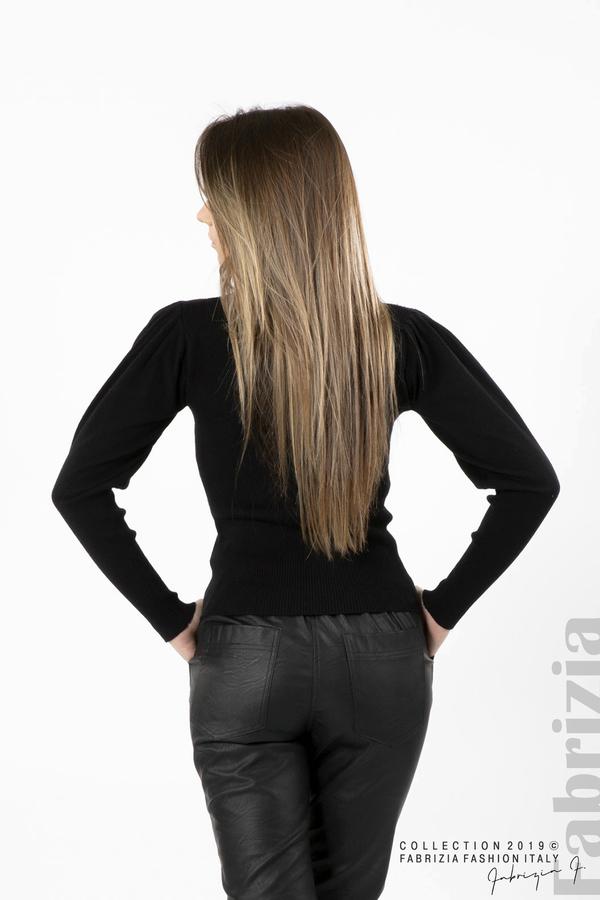 Дамска блуза с буфан ръкав черен 4 fabrizia