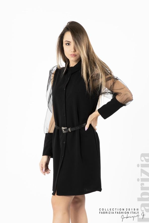 Дамска рокля с тюлени ръкави черен 1 fabrizia