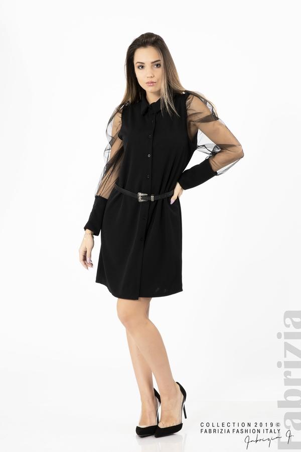 Дамска рокля с тюлени ръкави черен 2 fabrizia