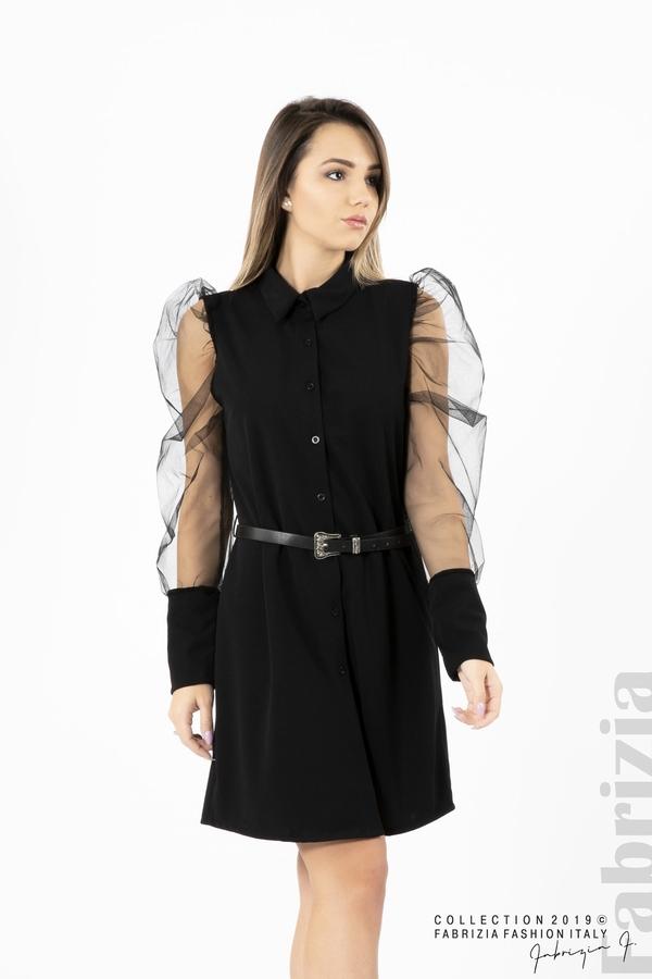 Дамска рокля с тюлени ръкави черен 3 fabrizia