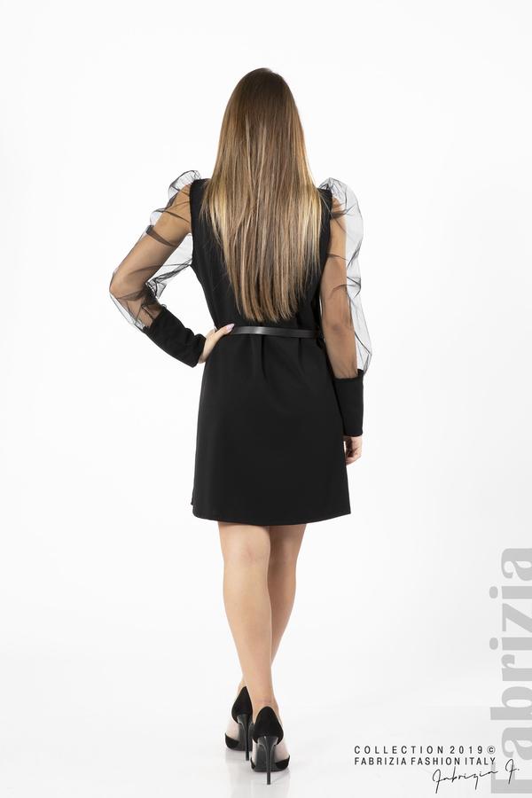 Дамска рокля с тюлени ръкави черен 4 fabrizia