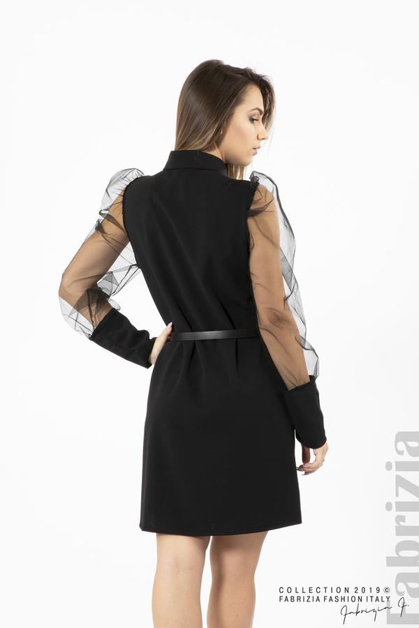 Дамска рокля с тюлени ръкави черен 5 fabrizia