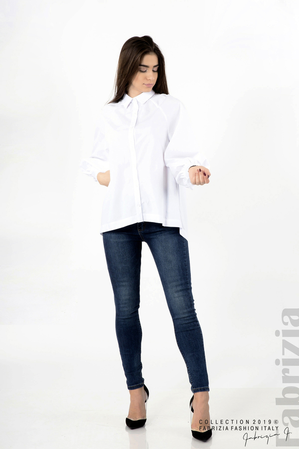 Дамска риза с ефектен гръб бял 1 fabrizia