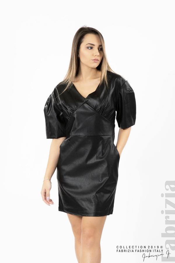 Къса дамска кожена рокля черен 3 fabrizia