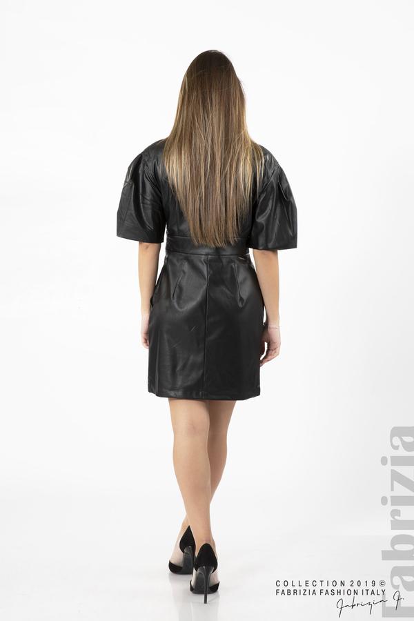 Къса дамска кожена рокля черен 4 fabrizia