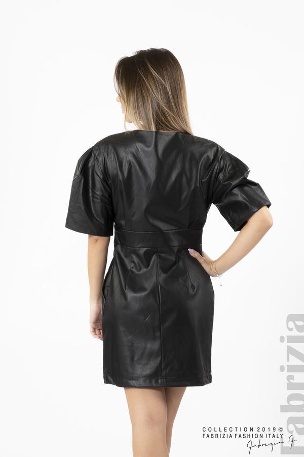 Къса дамска рокля кожена черен 5 fabrizia