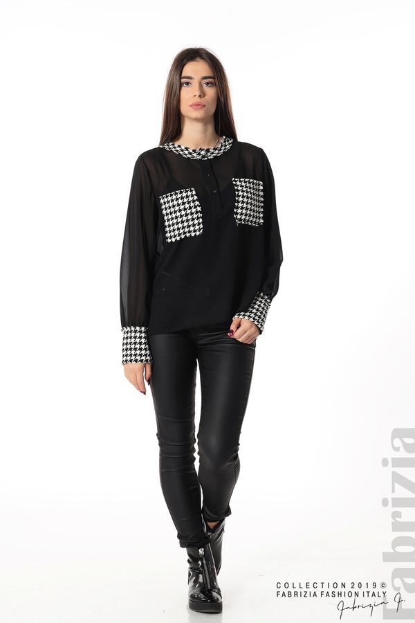 Дамска риза с акценти от пепит черен 3 fabrizia