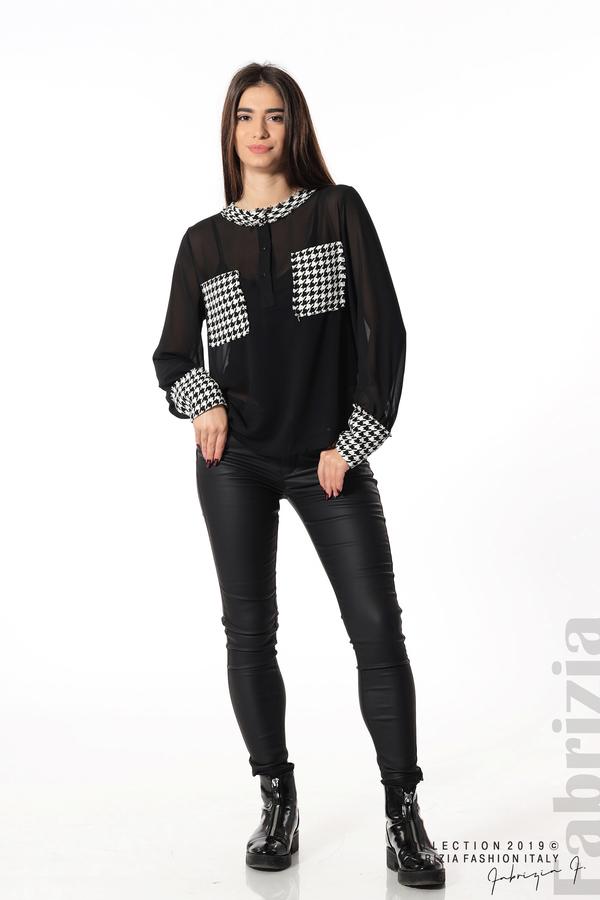 Дамска риза с акценти от пепит черен 1 fabrizia