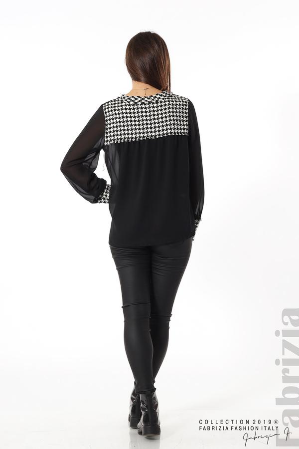 Дамска риза с акценти от пепит черен 5 fabrizia