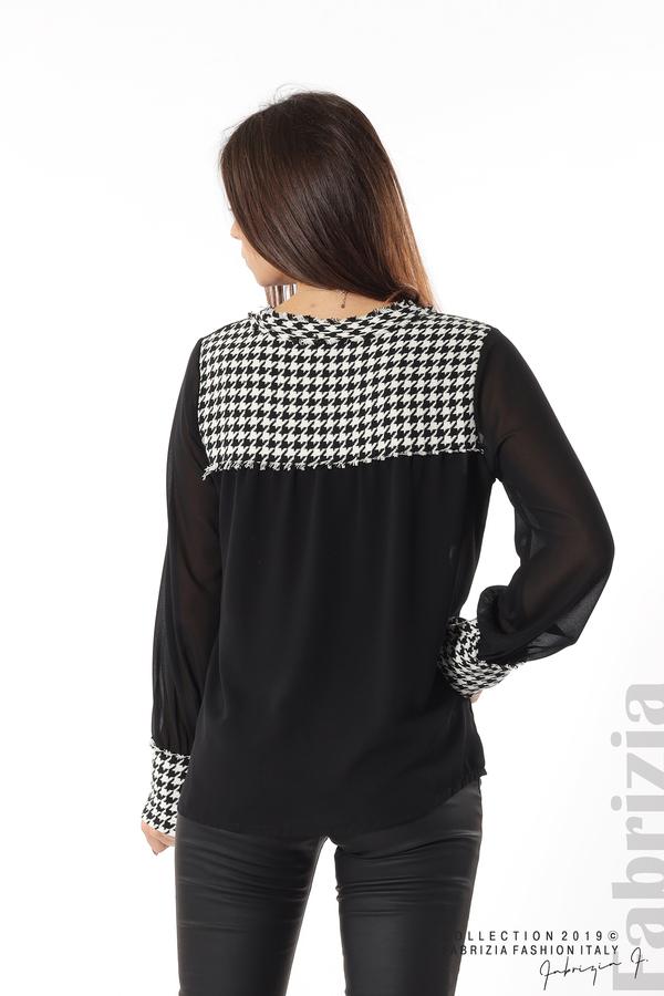 Дамска риза с акценти от пепит черен 6 fabrizia